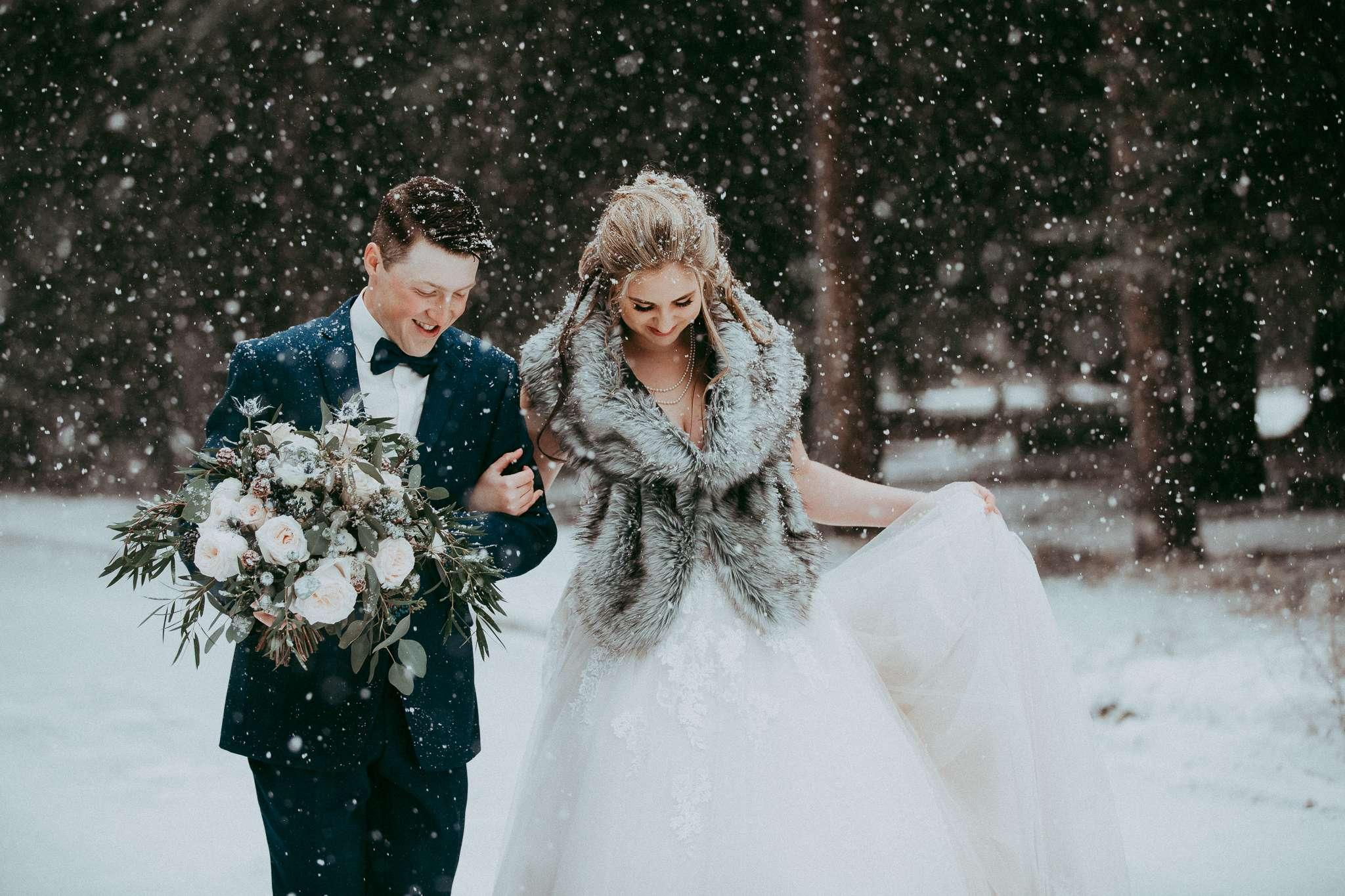 winter wedding, wedding fur, winter wedding style