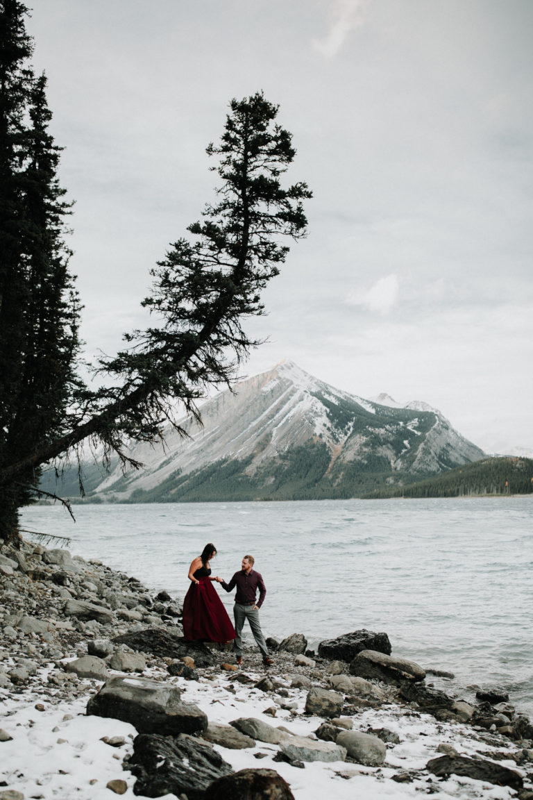 elope in banff, adventure photographer, adventure engagement session, adventure session, upper kananaskis lake