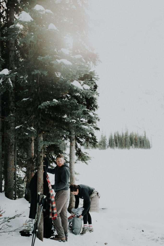 rawson lake, elope in banff, adventure photographer, adventure engagement session, adventure session