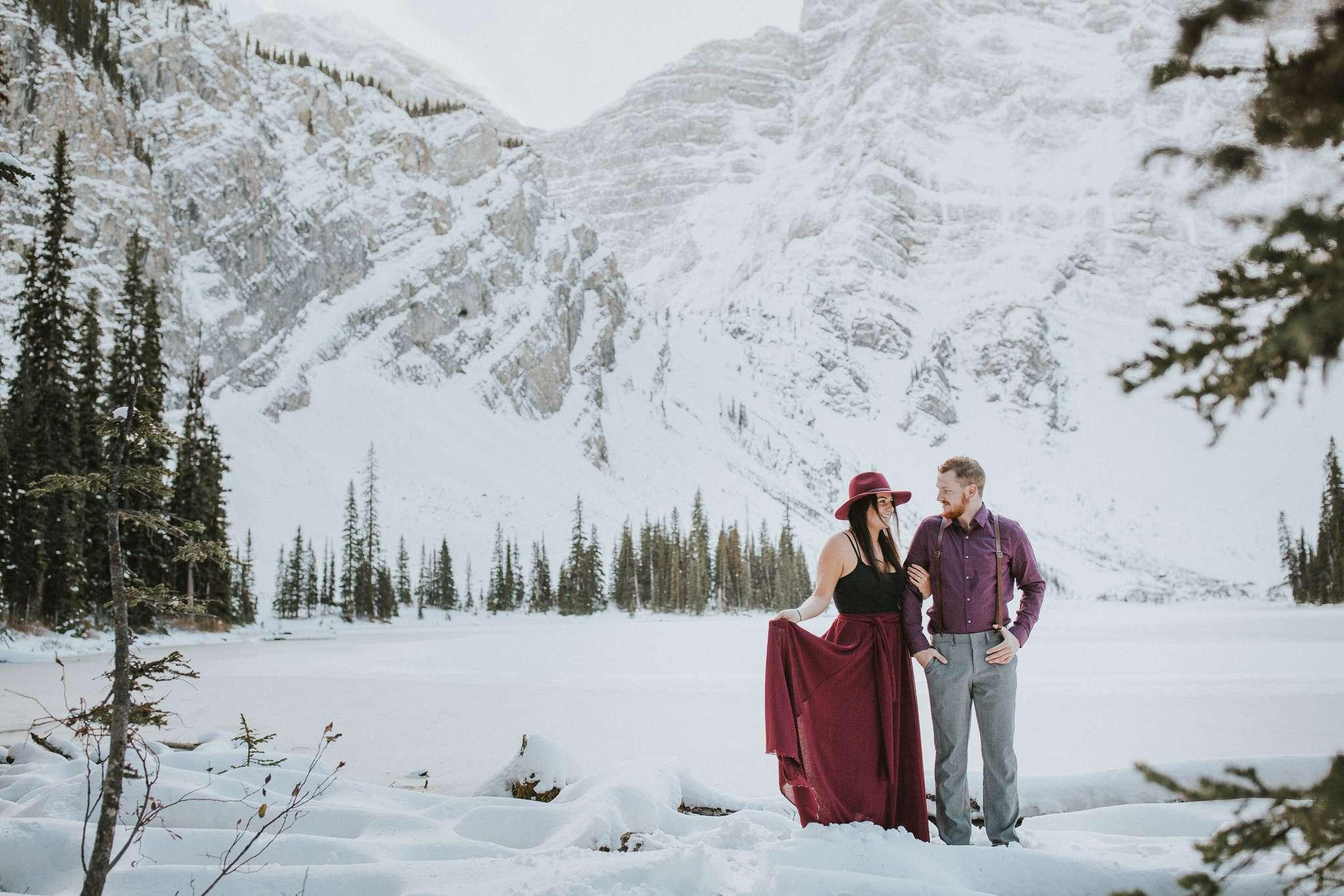adventure photographer,adventure session,elope in banff,rawson lake,rawson lake trail,