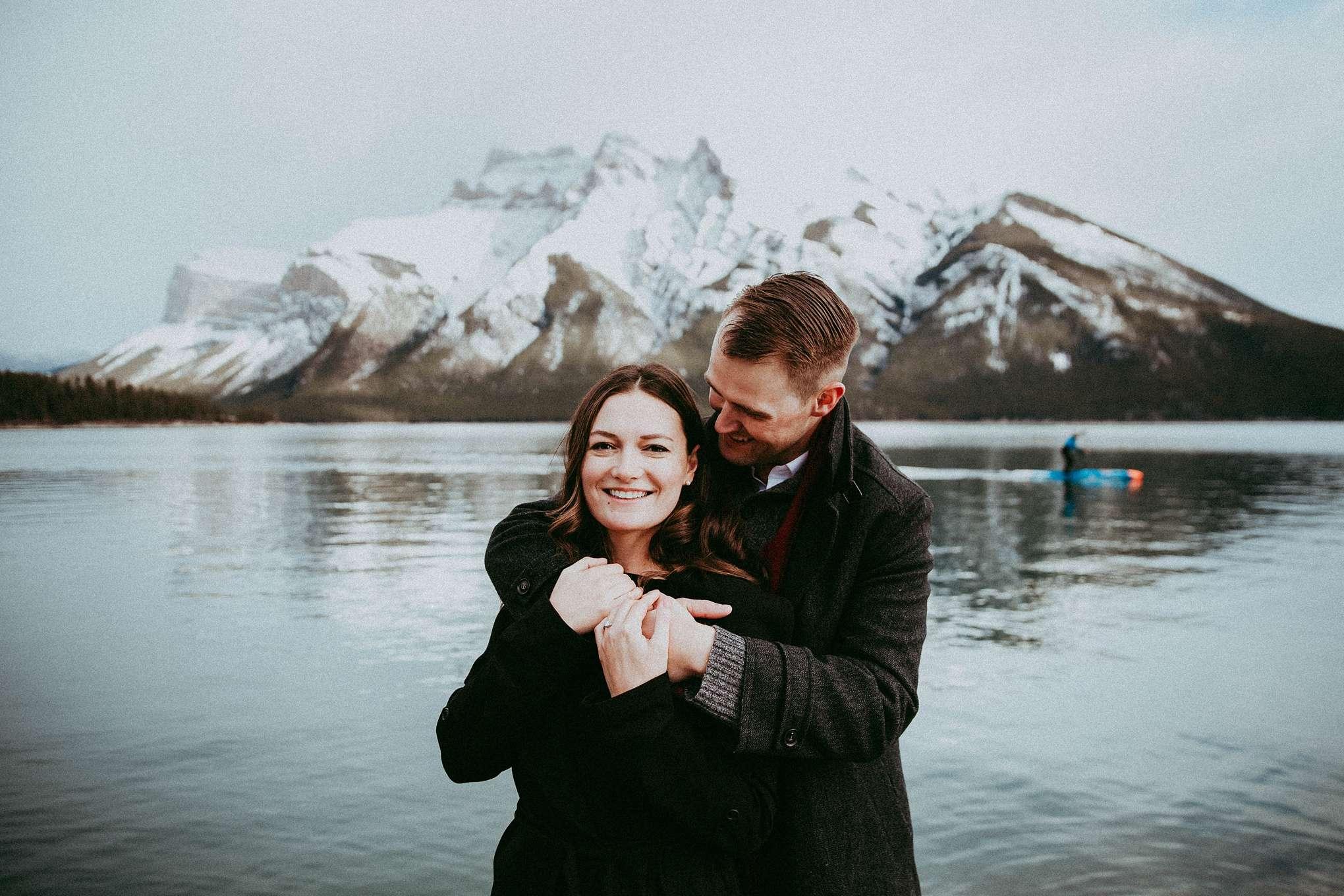 banff engagement session, banff photographers, banff lakes, lake minnewanka, banff alberta, banff national park